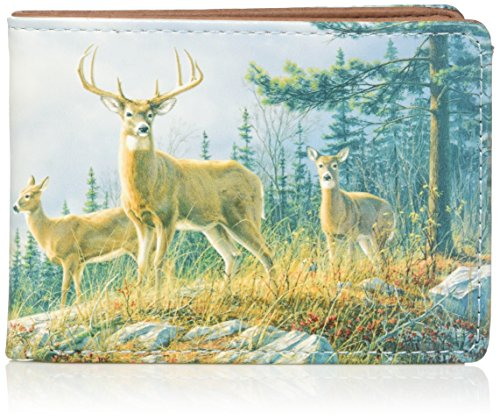 Buxton Men's Wildlife Autumn Whitetail Deer Front Pocket Slimfold Accessory, brown,