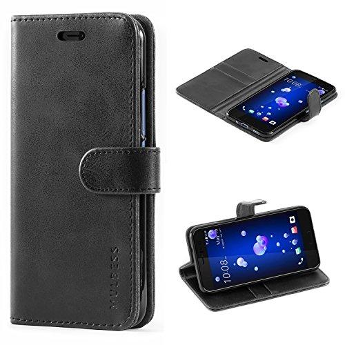 Mulbess Handyhülle für HTC U11 Hülle Leder, HTC U11 Handy Hüllen, Vintage Flip Handytasche Schutzhülle für HTC U11 Hülle, Schwarz