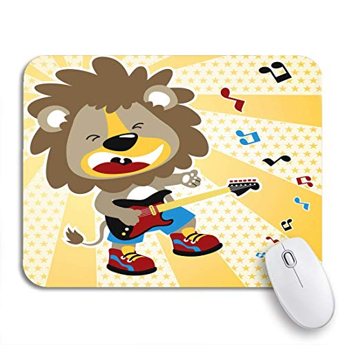 "MOBEITI Gaming Mouse Pad Rock Lion The Best Guitar Player Rocker Cartoon Star 9.5""x7.9"" Nonslip Rubber Backing Computer Mousepad for Notebooks Mouse Mats"
