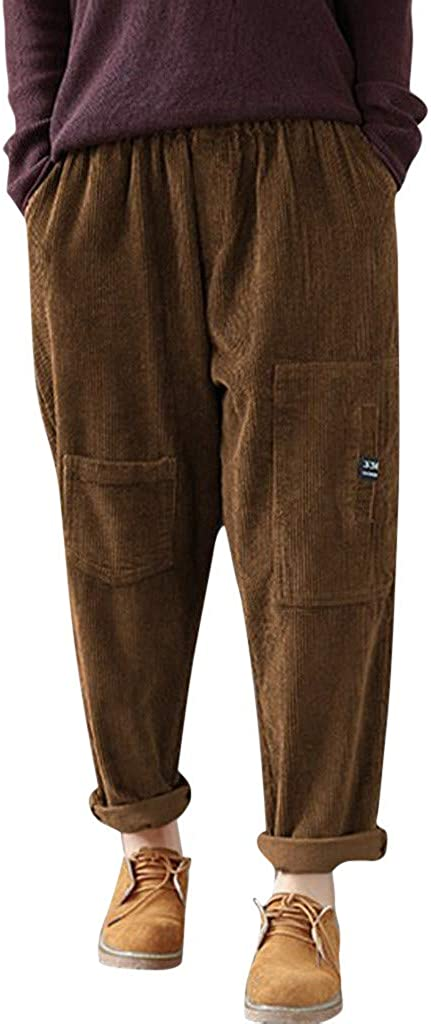 Gergeos Womens Corduroy Pants Plus Size Stretch Multi-Pocket Loose Casual Autumn Winter Pants Lady