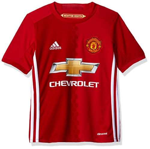adidas Boys' Soccer Manchester United Youth Jersey, Red/White, Medium