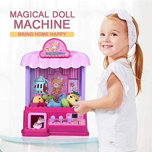 Pstars Claw Machine Doll Machine with Removable Remote Control, USB Cable, 10 Dolls, Intelligent System with Music and Lighting, Giving Children The Best Gift