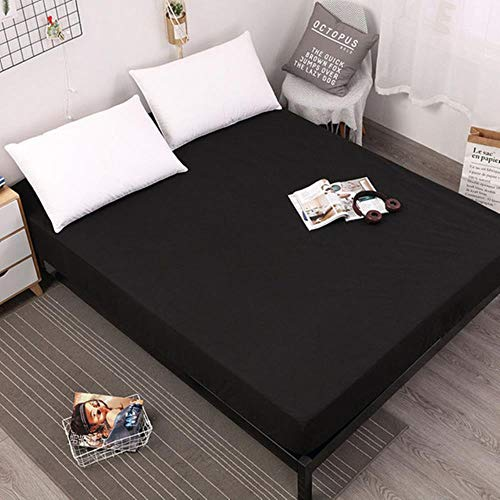New Coming Solid Fitted Sheet On Elastic Band Mattress Cover with Elastic Rubber Band Printed Bed Sheet Bed Linens,Black,100x200x25cm