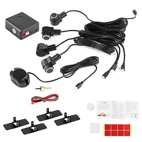 Qiilu Sistema radar per parcheggio auto, sistema di assistenza al parcheggio intelligente 4 Sonda sensore Radar inverso automatico per auto 80dB Kit allarme cicalino