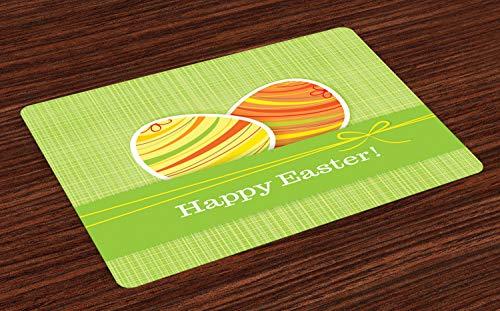 ABAKUHAUS Ostern Platzmatten, Bunte Eier mit Streifen auf Einer grünen Karierten quadratischen Hintergr&-festlichen Fahne, Tiscjdeco aus Farbfesten Stoff für das Esszimmer & Küch, Mehrfarbig