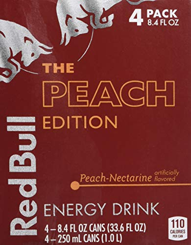 Red Bull Energy Drink, Peach Edition, 8.4 Fl Oz 4 count, Pack of 6