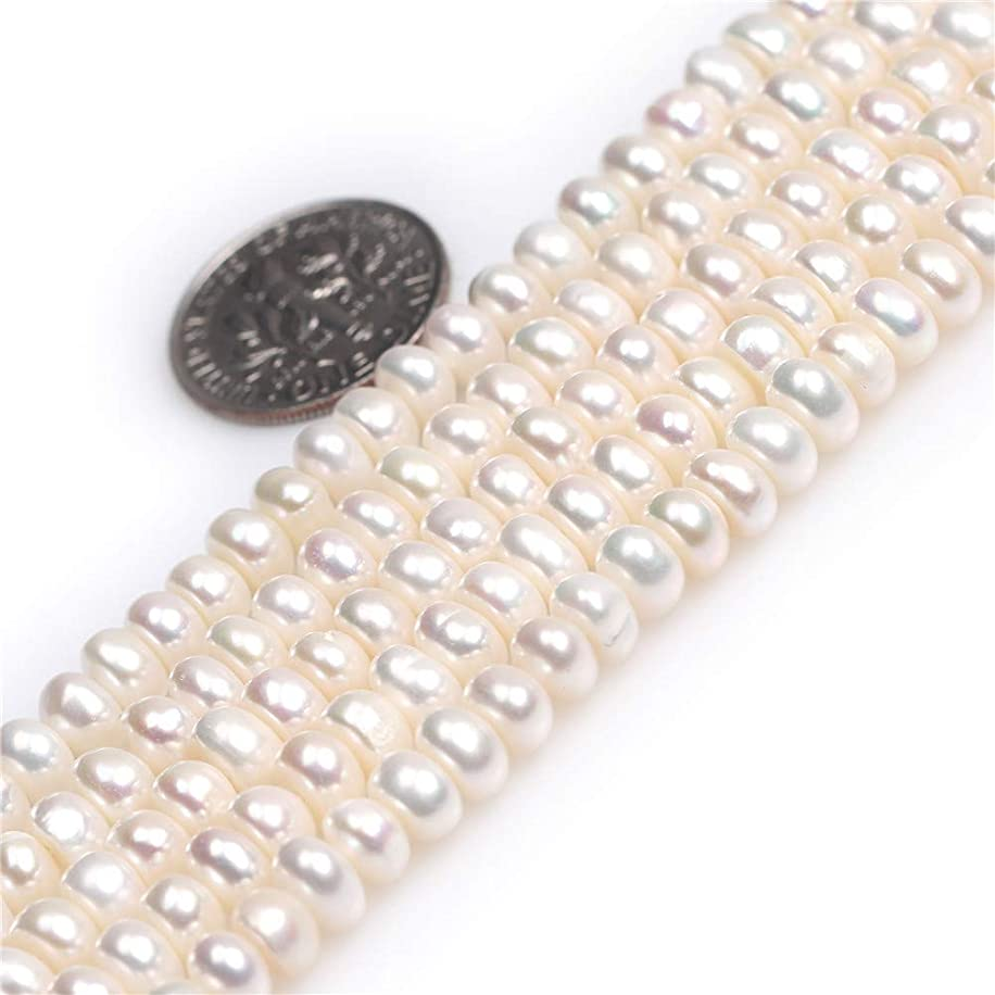 Freshwater Cultured Pearl Beads for Jewelry Making Natural Gemstone Semi Precious 5-6mm White 15