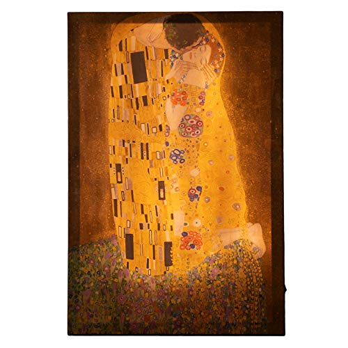 JaZoo LED Wall Art – 24 x 16 Inches Canvas Wall Art The Kiss by Gustav Klimt – Durable MDF Backboard with LED Strips – High Resolution Printing – Gorgeous Ambiental Light for Home Decor, Office