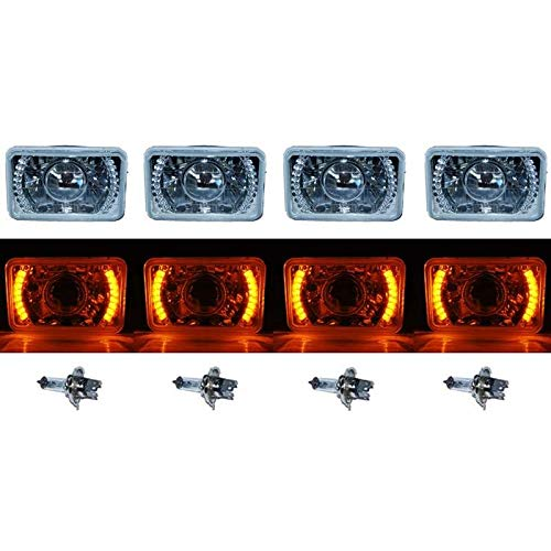 "OCTANE LIGHTING 4X6"" Amber Led Halo Projector Halogen Headlight Headlamp Bulbs Crystal Clear Set"