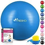 TRESKO Pelota de Gimnasia Anti-Reventones | Bola de Yoga Pilates y Ejercicio | Balón para Sentarse | Balon de Ejercicio para Fitness | 300 kg | con Bomba de Aire | Azul | 75cm