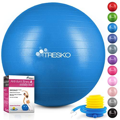 TRESKO® Anti-Burst Gymnastikball 55cm 65cm 75cm 85cm | Sitzball | Yogaball | 300 kg | mit Luftpumpe (Blau, 75cm (geeignet für 175-185cm))