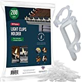 SEWANTA All-Purpose Light Clips Holder - Set of 199 Christmas light hooks - Mount holiday lights to shingles and gutters - works with Rope, Mini, c-7-6-9, icicle lights - USA made - No tools required
