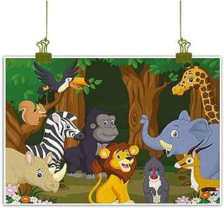 Mannwarehouse Animal Wall Art Decor Poster Painting Cartoon Style Elephant Gazelle Giraffe Gorilla Lion Animals Illustration Decorations Home Decor 32