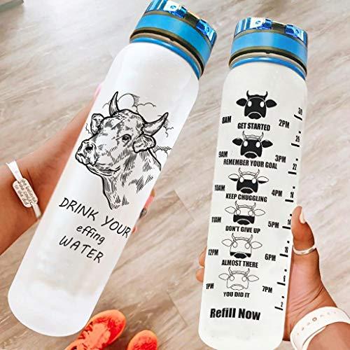 Bestwe Botella de agua con diseño de vaca, botella de Tritan, botella de agua ligera para deporte, fitness, bicicleta, exterior, color blanco, 1000 ml