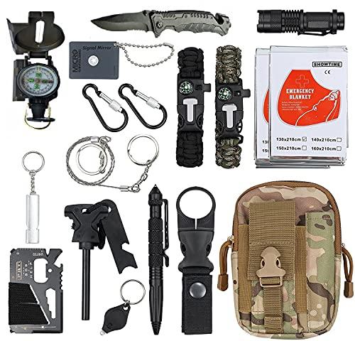 2021 18in1 Survival Kit ZS-5 Notfall Survival Gear Multifunktionales Zubehör für Reisen Wandern Camping Outdoor Sport Kompass, Molle-Beutel, 2 x Wärmedecke, Taschenlampe, Überlebenskarte...