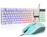 Gaming LED Backlit Keyboard and Mouse Combo with Emitting Character 3 Adjustable LED