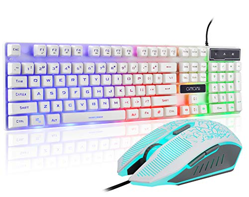 Gaming LED Backlit Keyboard and Mouse Combo with Emitting Character Adjustable LED Backlight 3200DPI USB Mouse Multimedia Keys Mechanical Feeling for PC Resberry Pi Mac Ps5 (White)