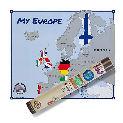 Scratchable Map EUROPE FLAGS | Versione Bandiere | MADE IN ITALY | Mappa dell'Europa da grattare | Viaggia e Gratta Via gli Stati che hai Visitato!!