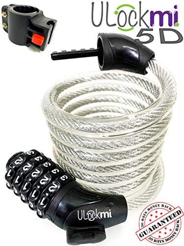 Fietsslot met 5 cijferige resetbare combinatie, Zware kwaliteit 1800 mm x 12 mm kabel, fietsslot met montagebeugel, Zeer veilige kettingsloten fiets, scooter, mountainbike, motor Weerbestendig Anti-diefstal