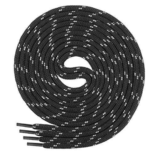 Di Ficchiano runde SCHNÜRSENKEL für Arbeitsschuhe und Trekkingschuhe - sehr reißfest - ø ca. 4,5 mm, Polyester - SP-01-black/grey-150