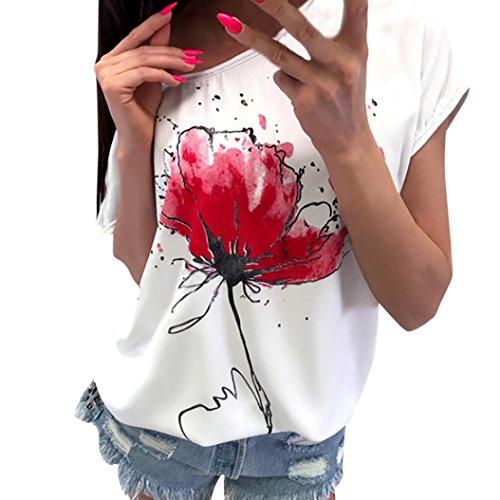 Tshirt Oberteile Damen Elegant Sommer Kurzarm Blumendruck Bluse Kurzarm Lose Tee (Weiß, XXL)