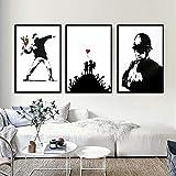 TXTYUMR Lienzo artístico Pintura Banksy Graffiti Girl con Globo Rojo Póster de Arte de Pared en Blanco y Negro Sala de Estar nórdica Decoración para el hogar | 50x70cmx3 Sin Marco