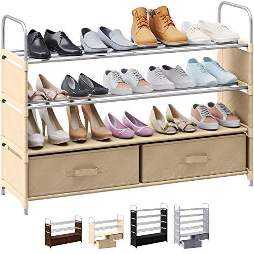 4 Tier Shoe Rack With 2 Storage Bins | Stackable, Metal, Closet Shoe Organizer | Shoe Shelf Cabinet | Organizador De Zapatos | Shoe Rack For Closets, Entryway, Living Room And Bedroom (Black)