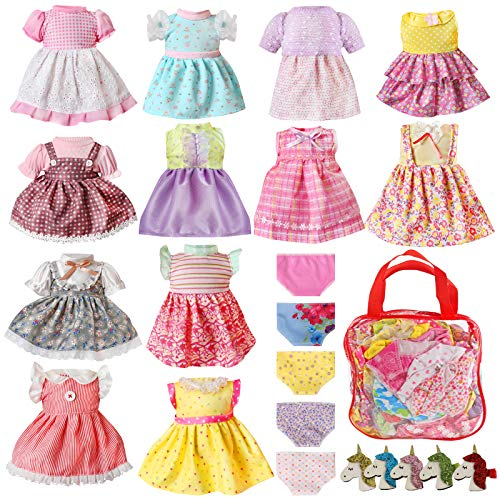 Alive Baby Doll Clothes and Accessories - 12 Sets Girl Doll Clothes Dress for 12 13 14 15 16 Inch Doll, Bitty Baby Doll Clothes - Doll Outfits Accessories w/ Hairpin & Underwear for American Doll Girl