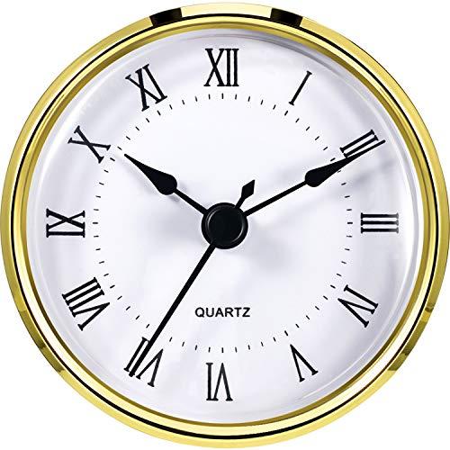 Hicarer Round Clock Insert 3-1/8 Inch (80 mm) Quartz Movement Roman Numeral Gold Trim (Gold Trim)