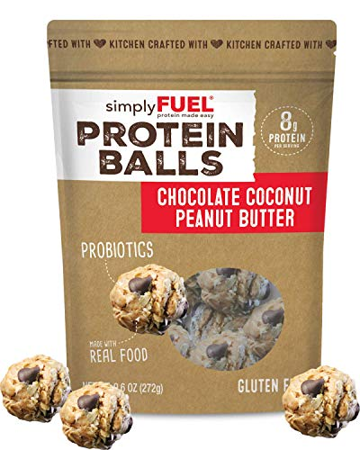simplyFUEL Chocolate Coconut Peanut Butter Protein Balls | 1 Pack of 12 Balls | Gluten Free | Probiotic + High Protein Whole Food Snack | Certified Organic Ingredients | 8 g Whole Food Protein