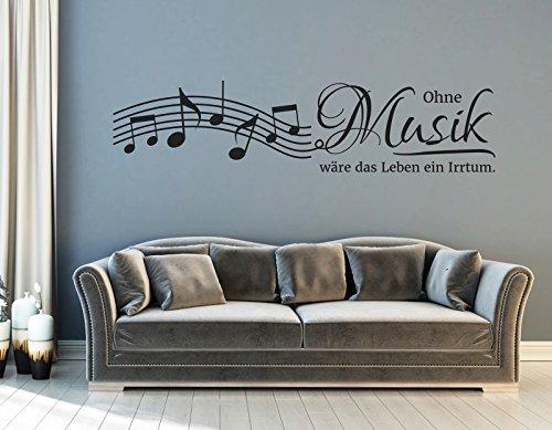 tjapalo® s-pkm152 Wandtattoo Wohnzimmer Noten Wandsticker Musik ist Wandtattoo Noten Wandtattoo Ohne Musik wäre das Leben ein Irrtum (Breite 100 x Höhe 30 cm)
