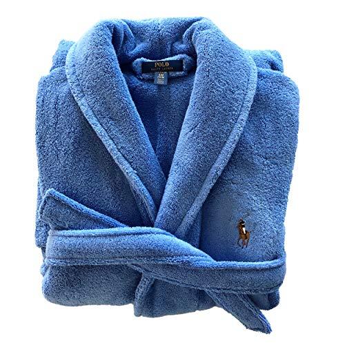 Polo Ralph Lauren Bademantel mit Schalkragen Soft Terry Reine Baumwolle Frottee (S/M, Blue (008))