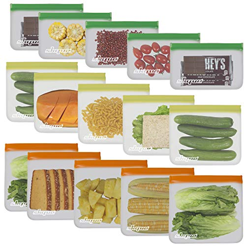 SKQUE 15 Pack Extra Thick Reusable Ziplock Storage Bags - Leakproof Seal Food Grade PEVA Ziplock Sandwich Bags Kids Snacks, Fruit, Travel Storage, BPA Free, Freezer Safe (5 Small, 5 Medium, 5 Large)