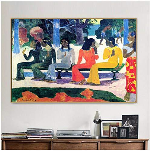 Paul Gauguin Viejo famoso maestro artista No vamos a salir al mercado hoy Cartel de lienzo e impresión para decoración Arte de pared-60x80cm Sin marco