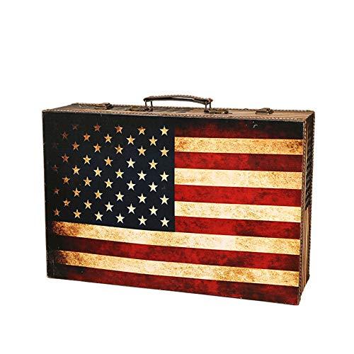 Fransande Maleta de madera con bandera de viaje, caja de almacenamiento de madera, organizador de maquillaje, caja de fotografía, accesorios de tesoro, cofre para decoración del hogar S