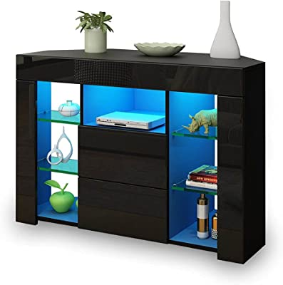 TV Cabinet TV Unit Stand Television Storage 2 Drawers High Gloss Front LED Lighted Modern Furniture Console Black