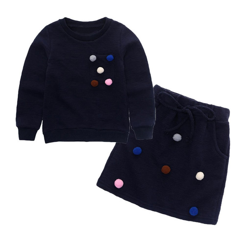 7 years old, Pink Skirt Outfit Winter Kids Clothes Set Baby Girls Pullover Sweatshirt Tops