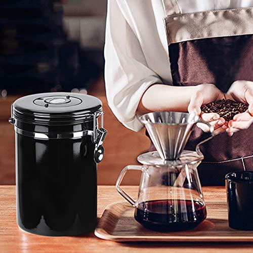 Fudax Tarro de Almacenamiento, Bote de café Sellado Black Lock, contenedor de azúcar para Productos Secos, Uso alimentario, Alimentos(Black)