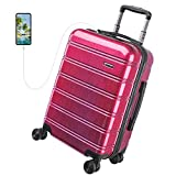 REYLEO Travel Suitcase 20in PC+ABS with USB Charging Port, Built-in TSA Lock, 4 Silent Spinner Wheels and Side Handle Carry on Luggage (Red)