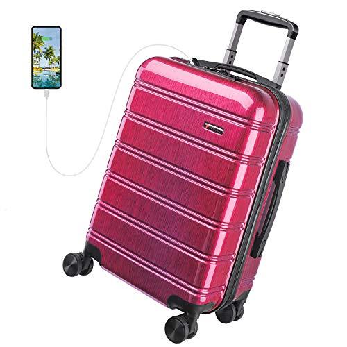 REYLEO Valise Cabine 8 Roues pivotantes, USB Port, Serrure TSA, Légère, Antichoc, Résistante aux Rayures, Rouge, 55cm/32L