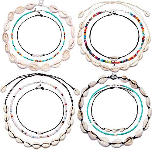 HiRinK 12 Pieces Shell Choker Shell Necklace Handmade Boho Rainbow Seed Beads Choker Adjustable for Women Girls