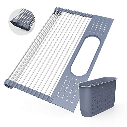 Roll Up Dish Drying Rack 175quotL x 152quotW  SUS304 MultiPurpose Rack Rollable Stainless Steel Dish Drainer with Utensil Holder for Kitchen Sink