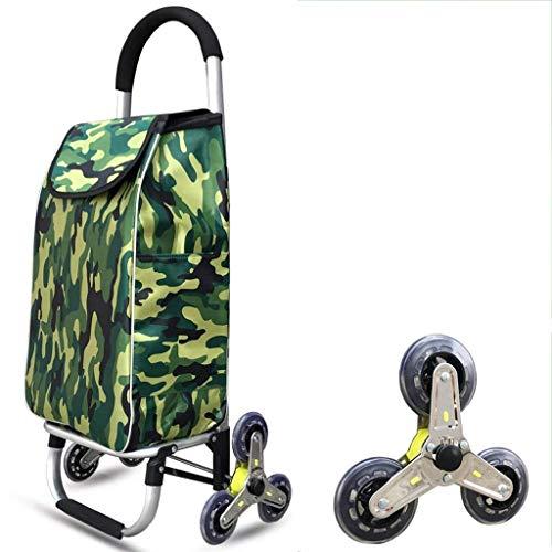 BOC Transporte de remolque de gran capacidad de peso ligero ruedas de la carretilla Push Cart Bolsa con 6 ruedas plegable subir escaleras coche,Camuflaje