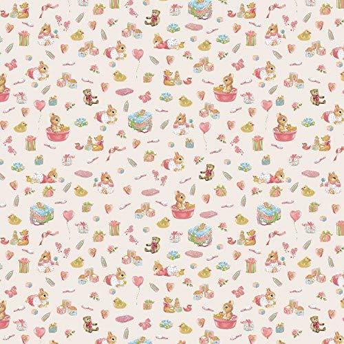 Qualitativ hochwertiger Baumwollstoff, Babymuster, kleine Bären und Hasen auf Ecru als Meterware zum Nähen von Erwachsenen, Kinder und Baby Kleidung, 50 cm
