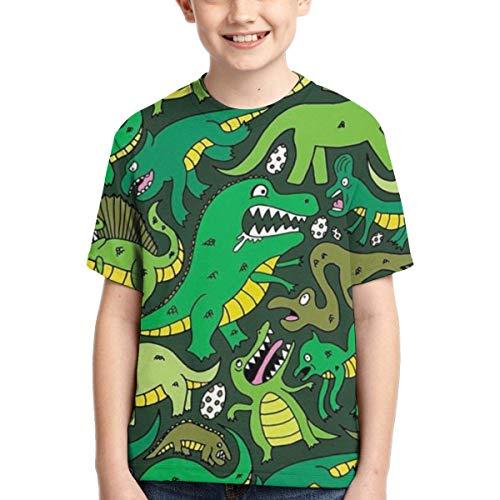 XCNGG Niños Tops Camisetas Youth Short Sleeve T-Shirts Green Dinosaur Kids Casual Graphics Tees