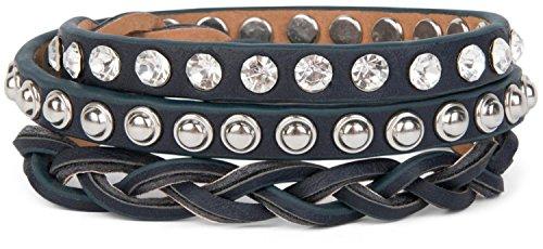 styleBREAKER Lederarmband mit Strass, Kugelnieten und Flechtteil, Wickelarmband, Damen 05040015, Farbe:Dunkelblau/Nieten Silber