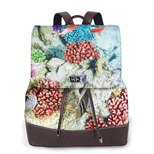 Women'S Leather Backpack,Seabed Underwater Fish Print Women'S Leather Backpack