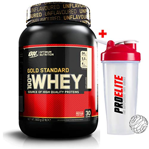 Optimum Nutrition ON 100% Gold Standard Whey Protein 908g Unflavoured + Shaker