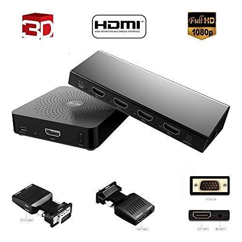 MEASY Wireless HDMI Schalter W2H max + VGA zu HDMI Konvektor (4x1, 30m/100 FT, 3D 1080P 60GHz) für HD240W DLP Projektor (Full HD, 3000 Lumen, 25.000: 1 Kontrast, 3D)