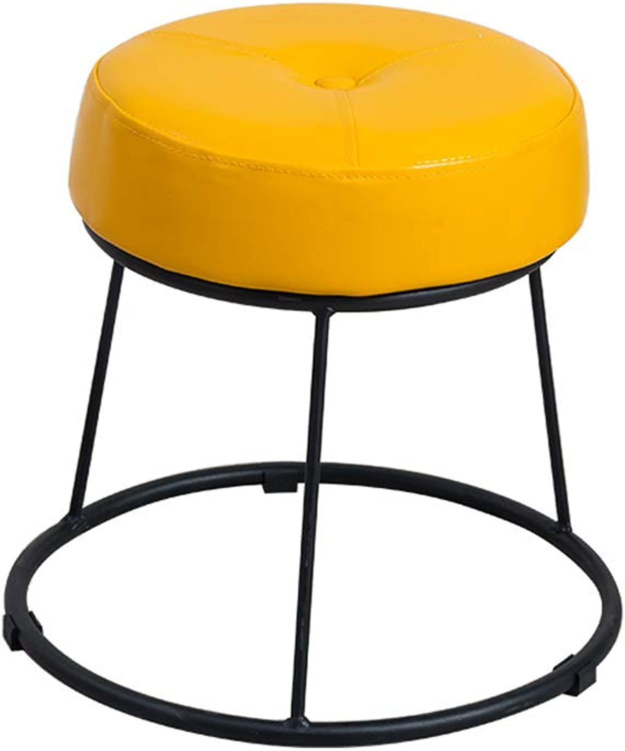 Simple Stool Wrought Iron Metal Upholstered Footstool Dining Table Stool Multi-Purpose for Living Room Bedroom Restaurant Maximum Load Capacity 150kg (31.5cm×36.5cm)